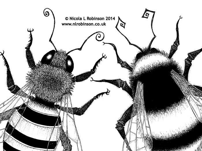 Bee illustrations © Nicola L Robinson All rights reserved www.nlrobinson.co.uk pen and ink black and white