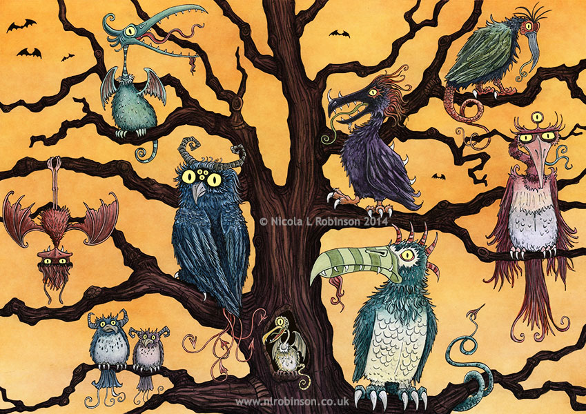 Tree of Monster Birds Illustration © Nicola L Robinson All rights reserved www.nlrobinson.co.uk