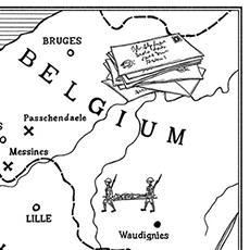 Men of LEtters PEn adn Ink Map of Europe WW1 © Nicola L Robinson