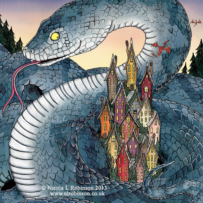Year of the snake illustration © Nicola L Robinson. All rights reserved. www.nlrobinson.co.uk
