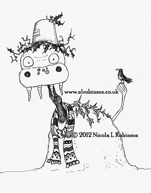 Snow monsters illustration pen and ink © Nicola L Robinson