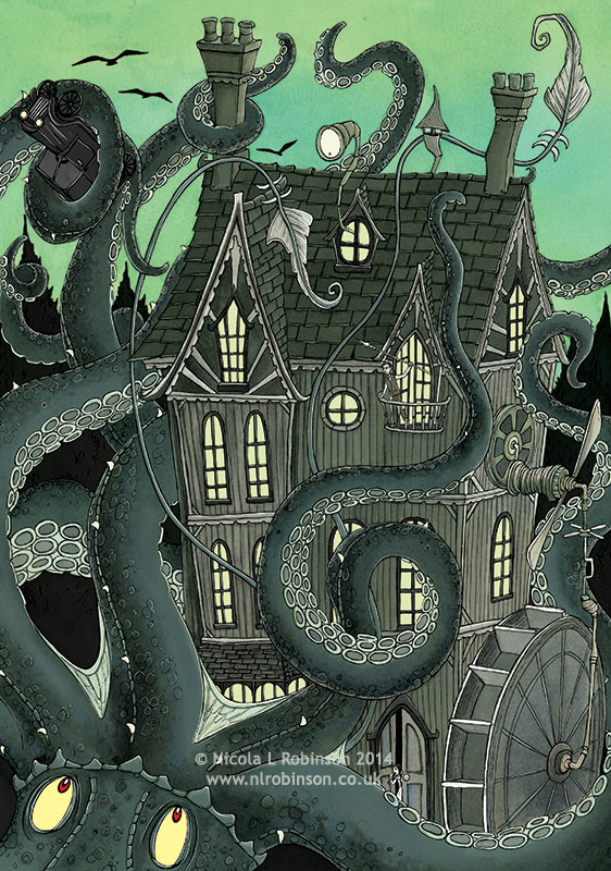 Giant squid attack illustration © Nicola L Robinson. All rights reserved. www.nlrobinson.co.uk