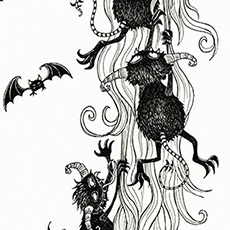 Rapunzel Pen and Ink Illustration © Nicola L Robinson