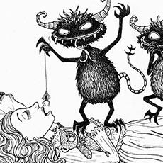 Sleeping Beauty Pen and Ink Illustration © Nicola L Robinson