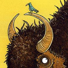 Bison Riding Children's Illustration © Nicola L Robinson