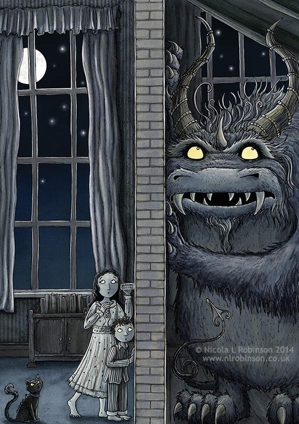 Monster listening party illustration © Nicola L Robinson. All rights reserved, www.nlrobinson.co.uk