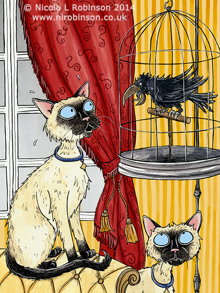 Two curious siamese cats illustration © Nicola L Robinson. All rights reserved. www.nlrobinson.co.uk