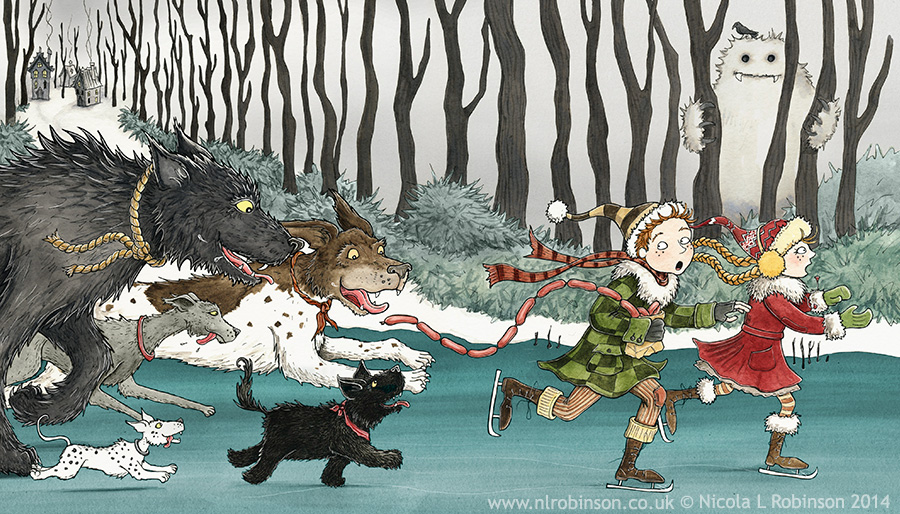 Winter dogs (the sausage thieves) illustration © Nicola L Robinson. All rights reserved. www.nlrobinson.co.uk