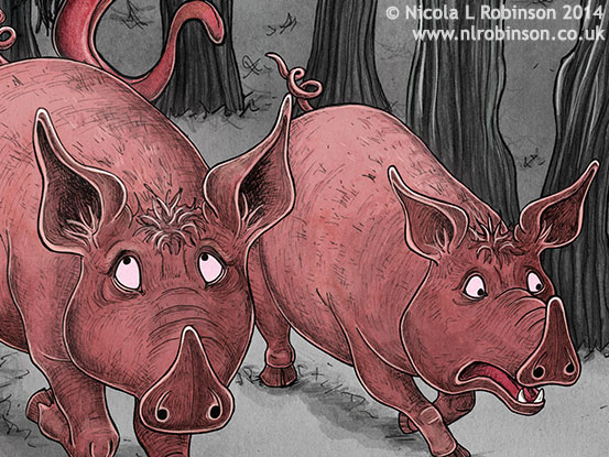 The three little pigs and the big bad wolf © Nicola L Robinson. All rights reserved. www.nlrobinson.co.uk